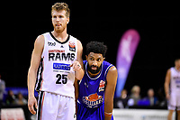 EJ Singler of the Canterbury Rams and Dion Prewster of the Wellington Saints during the round one NBL match between the Wellington Saints and the Canterbury Rams at TSB Bank Arena, Wellington, New Zealand on Friday 30 April 2021.<br /> Photo by Masanori Udagawa. <br /> www.photowellington.photoshelter.com