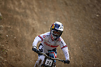 29th August 2021; Commezzadura, Trentino, Italy; 2021 Mountain Bike Cycling World Championships, Val di Sole; Downhill; Downhill final men, Laurie Greenland (GBR)