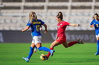 ORLANDO, FL - FEBRUARY 24: Jessie Fleming #17 of the CANWNT kicks the ball during a game between Brazil and Canada at Exploria Stadium on February 24, 2021 in Orlando, Florida.