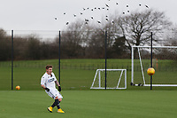 Pictured: Ashley Crowden scares some birds.  Wednesday 13 December 2018<br /> Re: Coaching staff v Members of the press game at the Fairwood Training Ground, Wales, UK.