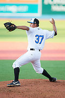 Hudson Valley Renegades relief pitcher Edgar Gomez (37) in action against the Brooklyn Cyclones at Dutchess Stadium on June 18, 2014 in Wappingers Falls, New York.  The Cyclones defeated the Renegades 4-3 in 10 innings.  (Brian Westerholt/Four Seam Images)