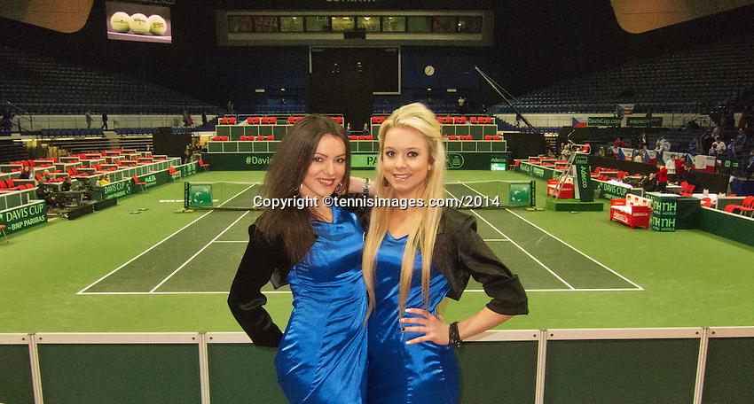02-02-14,Czech Republic, Ostrava, Cez Arena, Davis Cup Czech Republic vs Netherlands, Hostesses <br /> Photo: Henk Koster