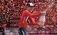 Giacomo Nizzolo (ITA/Trek Factory Racing) celebrating his 2015 Giro maglia rossa victory<br /> <br /> Giro d'Italia 2015<br /> final stage 21: Torino - Milano (178km)