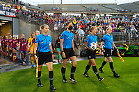 EAST HARTFORD, CT - JULY 1: Referees Katja Koroleva, Alicia Messer, Jennifer Garner, and Danielle Chesky lead the teams onto the field before a game between Mexico and USWNT at Rentschler Field on July 1, 2021 in East Hartford, Connecticut.