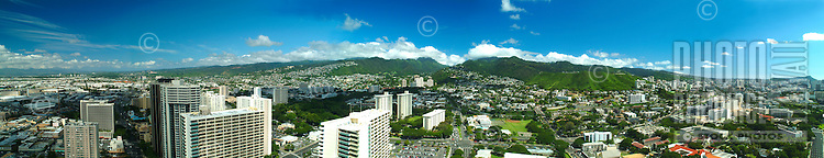 A panoramic shot of Nuuanu with the sweeping Koolau mountains in the distance.