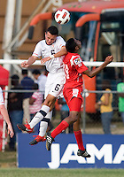Mobi Fehr (6) of the United States goes up for a header with Alfredo Stephens (19) of Panama during the group stage of the CONCACAF Men's Under 17 Championship at Jarrett Park in Montego Bay, Jamaica. The USA defeated Panama, 1-0.