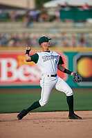 Fort Wayne TinCaps shortstop Justin Lopez (14) throws to first base during a Midwest League game against the Peoria Chiefs on July 17, 2019 at Parkview Field in Fort Wayne, Indiana.  Fort Wayne defeated Peoria 6-2.  (Mike Janes/Four Seam Images)