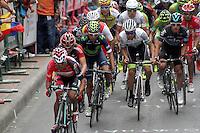 TUNJA - COLOMBIA- 21- 02-2016: Nairo Quintana (C) durante la prueba ruta categoría Elite hombres con recorrido entre las ciudades de Sogamoso y Tunja en una distancia 174,6 km kilometros de Los Campeonato Nacionales de Ciclismo 2016, que se realizan en Boyaca. / Nairo Quintana during the Elite test individual route men conducted  between the towns of Sogamoso and Tunja at a distance of 174,6 km of the National Cycling Championships 2016 performed in Boyaca. / Photo: VizzorImage / Cesar Melgarejo / Cont.