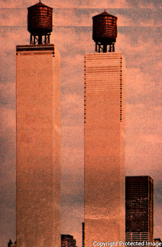 "Utopia:  World Trade Center ""Trade-Offs""--Tank-top Towers.  Michael Langenstein.  Postcard in NEW YORK MAGAZINE, July 21, 1975."