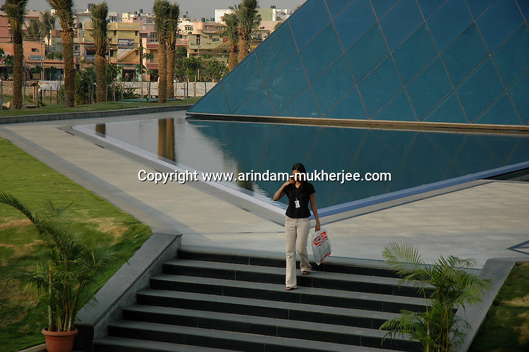 An Indian software professional at Infosys campus in Bangalore. Infosys is the largest software company in the country and the head office is in Bangalore, Karnataka, India. Arindam Mukherjee