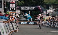 race winner Krists Neilands (LAT/Israel Cycling Academy) crosses the finish line <br /> <br /> 3rd Dwars Door Het hageland 2018 (BEL)<br /> 1 day race:  Aarschot > Diest: 198km