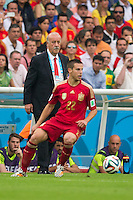 Spain manager Vicente del Bosque watches Cesar Azpilicueta