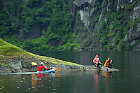 Rafting an unnamed lake on Culross Island, Prince William Sound, Chugach National Forest, Alaska.