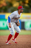 Clearwater Threshers third baseman Drew Stankiewicz (15)  during a game against the Dunedin Blue Jays on April 8, 2017 at Florida Auto Exchange Stadium in Dunedin, Florida.  Dunedin defeated Clearwater 12-6.  (Mike Janes/Four Seam Images)