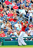 24 September 2011: Washington Nationals shortstop Ian Desmond pulls in an infield fly for the second out of the 9th inning against the Atlanta Braves at Nationals Park in Washington, DC. The Nationals defeated the Braves 4-1 to even up their 3-game series. Mandatory Credit: Ed Wolfstein Photo