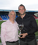St Johnstone Player of the Year Awards...04.05.13.Jailers Tours Supporters Club Player of the Year Award went to Alan Mannus pictured with Andy English.Picture by Graeme Hart..Copyright Perthshire Picture Agency.Tel: 01738 623350  Mobile: 07990 594431