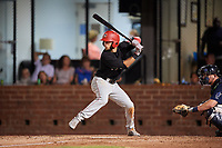 Chattanooga Lookouts second baseman Alex Perez (2) at bat in front of catcher Michael Barash (16) during a game against the Mobile BayBears on May 5, 2018 at Hank Aaron Stadium in Mobile, Alabama.  Chattanooga defeated Mobile 11-5.  (Mike Janes/Four Seam Images)