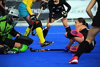 NZ's Ella Gunson scores during the Sentinel Homes Trans Tasman Series hockey match between the New Zealand Black Sticks Women and the Australian Hockeyroos at Massey University Hockey Turf in Palmerston North, New Zealand on Sunday, 30 May 2021 Photo: Dave Lintott / lintottphoto.co.nz