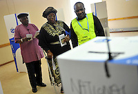 """Archbishop Desmond Tutu and his wife Leah cast their votes in the 2009 general election at a polling station in Milnerton. Tutu said he was only voting after """"a lot of heart-searching"""" having previously stated that he would not cast his ballot."""