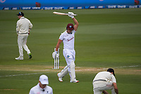 Windies' Joshua Da Silva celebrates his maiden half century on his debut during day four of the second International Test Cricket match between the New Zealand Black Caps and West Indies at the Basin Reserve in Wellington, New Zealand on Monday, 14 December 2020. Photo: Dave Lintott / lintottphoto.co.nz
