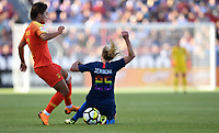 Sandy, Utah - Thursday June 07, 2018: Wang Shuang, McCall Zerboni during an international friendly match between the women's national teams of the United States (USA) and China PR (CHN) at Rio Tinto Stadium.