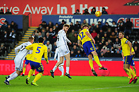 Oli McBurnie of Swansea City scores his side's second goal during the Sky Bet Championship match between Swansea City and Birmingham City at the Liberty Stadium in Swansea, Wales, UK. Tuesday 29 January 2019