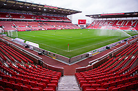 21st November 2020; Bet365 Stadium, Stoke, Staffordshire, England; English Football League Championship Football, Stoke City versus Huddersfield Town; An empty Bet365 Stadium awaits the teams for the warm up due to the pandemic