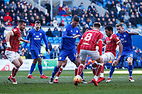 Gary Madine of Cardiff City struggles to find space as he is marked by Josh Brownhill of Bristol City during the Sky Bet Championship match between Cardiff City and Bristol City at the Cardiff City Stadium, Cardiff, Wales, UK. 25 February 2018