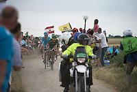breakaway race leaders Lieuwe Westra (NLD/Astana) & Perrig Quéméneur (FRA/Europcar) on the cobbled sector of Artres (1200m)<br /> <br /> stage 4: Seraing (BEL) - Cambrai (FR) <br /> 2015 Tour de France