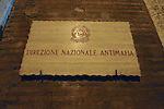 Plaque on a wall in  Via Giulia in the Parione district of Rome.