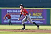 Mississippi Braves shortstop Dansby Swanson (5) reacts to the ball during a game against the Tennessee Smokies at Smokies Stadium on May 7, 2016 in Kodak, Tennessee. The Smokies defeated the Braves 5-3. (Tony Farlow/Four Seam Images)