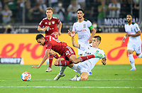 Florian NEUHAUS r. (MG) fouls Jamal MUSIALA (M), foul, duels, action, football 1. Bundesliga, 01.matchday, Borussia Monchengladbach (MG) - FC Bayern Munich (M) 1: 1, on 08/13/2021 in Borussia Monchengladbach / Germany . #DFL regulations prohibit any use of photographs as image sequences and / or quasi-video # Â