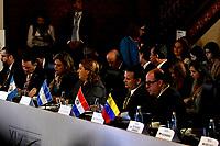 BOGOTÁ – COLOMBIA, 24-02-2019: Asistentes de los diferentes países, durante la 11ª Reunión de Ministros de Relaciones expteriores del Grupo de Lima en Bogotá, Colombia. El grupo de 14 miembros de Lima, que incluye a la mayoría de los latinoamericanos. Es la primera reunión en la que Venezuela participará como miembro del grupo de Lima, representado por el presidente interino Juan Guaido. / Assistants from different countries,during the 11th Lima Group Foreign Ministers meeting in Bogota, Colombia. The 14-member Lima Group, which includes most Latin American. It is first meeting in which Venezuela will participate as a member of the Lima group, represented by the president interim Juan Guaido. Photo: VizzorImage / Luis Ramírez / Staff.