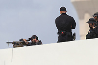 MIAMI, FL - JULY 10: US President Donald Trump arriving at Miami International Airport on July 10, 2020 in Miami, Florida. The President was greeted by Carlos A. Giménez Mayor of Miami-Dade County and is in town to receive a briefing on SOUTHCOM Enhanced Counternarcotics Operation and to attend Iglesia Doral Jesus Worship Center to  participate in a roundtable on Supporting the People of Venezuela<br /> <br /> <br /> People:  President Donald Trump