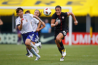 14 MAY 2011: USA Women's National Team forward Abby Wambach (20) and Japan National team Saki Kumagai go for the ball during the International Friendly soccer match between Japan WNT vs USA WNT at Crew Stadium in Columbus, Ohio.