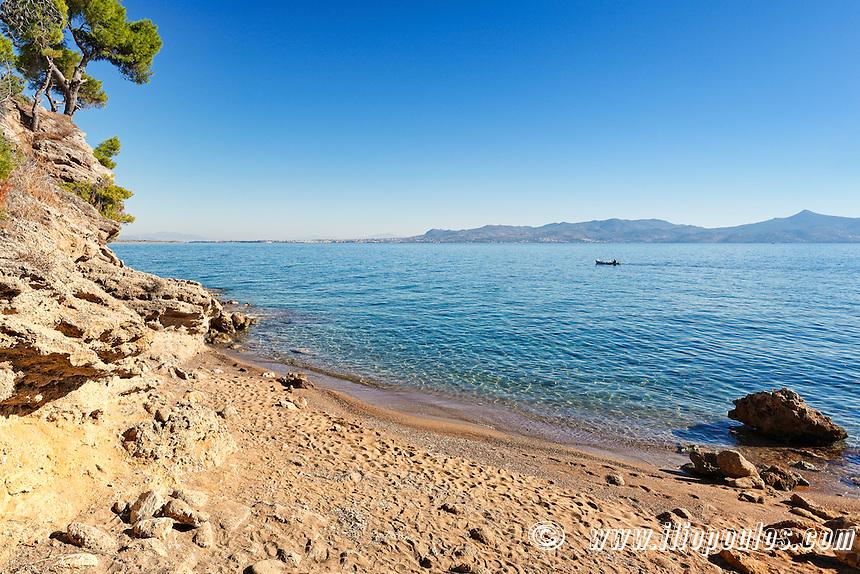 Skliri beach in Agistri island, Greece