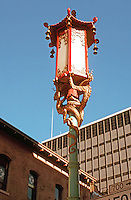 San Francisco:  Chinatown. Lamp standard at Grant and California.   Photo '89.
