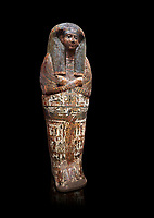 Ancient Egyptian sarcophagus of Royal scribe Butehamon, Thebes, 21st Dynasty, reign of Ramese XI, (1078 or 1077 BC ). Egyptian Museum, Turin.  black background<br /> <br /> Butehamon was a key figure between the end of the New Kingdom (Twentieth Dynasty, reign of Ramesse XI) and the beginning of the Third Intermediate Period (Twenty-First Dynasty, reign of Smendes). Born into an illustious family he became a man of letters