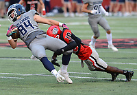 Fort Smith Northside's Zavian Zeffer (10) tackles Greenwood's Luke Brewer (84) after a reception on Friday, Sept. 10, 2021 in Fort Smith. (Special to NWA Democrat Gazette/Brian Sanderford)