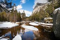 Yosemite National Park, California, El Capitan winter landscape Merced River with now