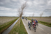 Relatively early in the race, the peloton split in 2 and never regrouped after that; this is the first group that eventually formed the winning (small) bunch with 180 km (!) to go...  The strong western wind played a major role in this scenario<br /> <br /> 83rd Gent-Wevelgem - in Flanders Fields (ME - 1.UWT)<br /> 1 day race from Ieper to Wevelgem (BEL): 254km<br /> <br /> ©kramon