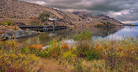Fine Art Landscape Photograph of seasonal fall colours in the beautiful Okanagan Valley of British Columbia, Canada. <br /> This photograph was taken at the south end of Skaha lake.