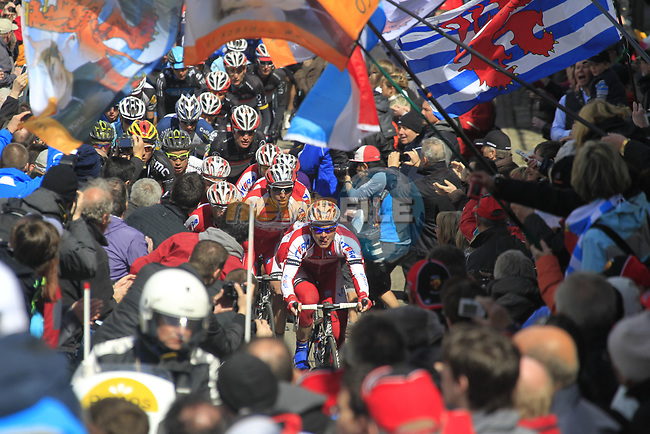 The peloton led by Team Katusha climb Cote de Saint-Roch during the 98th edition of Liege-Bastogne-Liege, running 257.5km from Liege to Ans, Belgium. 22nd April 2012.  <br /> (Photo by Eoin Clarke/NEWSFILE).