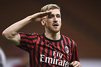 Alexis Saelemaekers of AC Milan celebrates after scoring the goal of 0-1 during the Serie A football match between AC Milan and Bologna FC at stadio Giuseppe Meazza in Milano ( Italy ), July 18th, 2020. Play resumes behind closed doors following the outbreak of the coronavirus disease. <br /> Photo Image Sport / Insidefoto