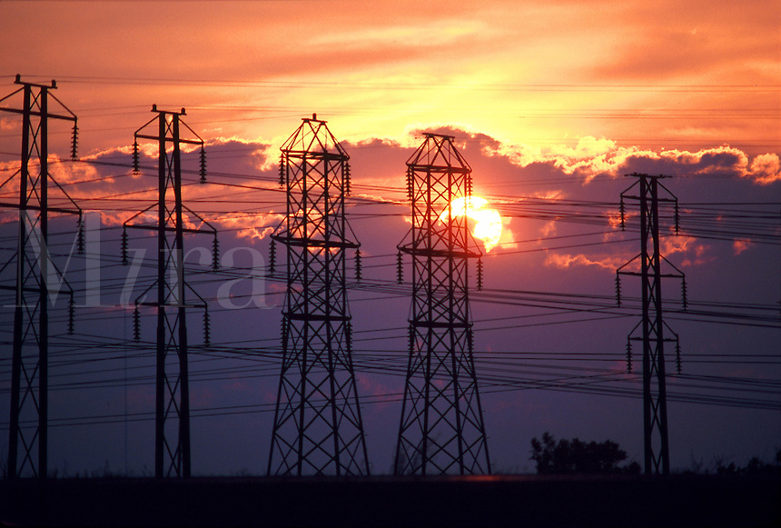 Power lines at sunset, electrical power, energy, 08-6500. New York United States.
