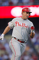 Pat Burrell of the Philadelphia Phillies during a game against the Los Angeles Dodgers in a 2007 MLB season game at Dodger Stadium in Los Angeles, California. (Larry Goren/Four Seam Images)