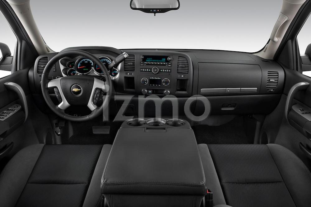 Straight dashboard view of a 2009 Chevrolet Silverado Hybrid.