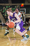 Stephen F. Austin Lumberjacks guard Thomas Walkup (0) in action during the game between the Stephen F. Austin Lumberjacks and the North Texas Mean Green at the Super Pit arena in Denton, Texas. SFA defeats UNT 87 to 53.