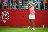 16th July 2021, Midland, MI, USA;  Lexi Thompson (USA) watches her tee shot on 1 during the Dow Great Lakes Bay Invitational Rd3 at Midland Country Club on July 16, 2021 in Midland, Michigan.