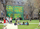 "Apr. 18, 2008; Zahm Hall with ""Here Come the Irish"" sign...Photo by Matt Cashore/University of Notre Dame"